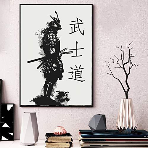 SJAKMA Cuadro En Lienzo,Japón Anime Samurai Bushido Non-Woven Carteles Ilustraciones Murales Impresión 3D Imagen Pintura Mural Vertical Dormitorio Home Office Decoraciones,70Cm X 100Cm.