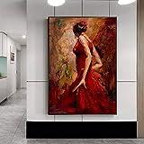 sanzangtang Modernes abstraktes Porträtplakat und Druckwandkunst-Segeltuchmalerei-Tänzerin kleideten in der rahmenlosen 30x42cm Wanddekorationsmalerei des roten Raumes an