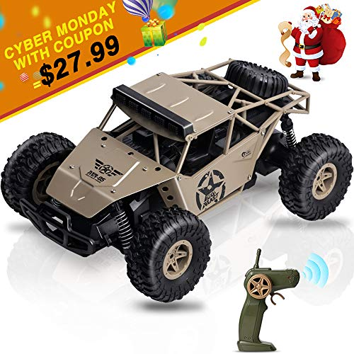 RC Truck, KOOWHEEL 1:16 Scale RC Car 36km/h 4WD Off Road Remote Control Monster Truck All Terrain Trucks Toys for Kids and Adults (Gray)