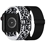Stretchy Nylon Solo Loop Bands Compatible with Apple Watch 38mm 40mm, Adjustable Braided Sport Elastic Straps Women Men Wristbands for iWatch Series 6/5/4/3/2/1 SE, White-Leopard, Black