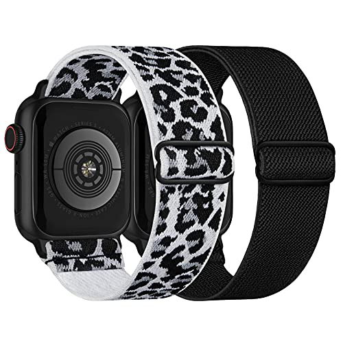 Stretchy Nylon Solo Loop Bands Compatible with Apple Watch 42mm 44mm, Adjustable Braided Sport Elastic Straps Women Men Wristbands for iWatch Series 6/5/4/3/2/1 SE, White-Leopard, Black
