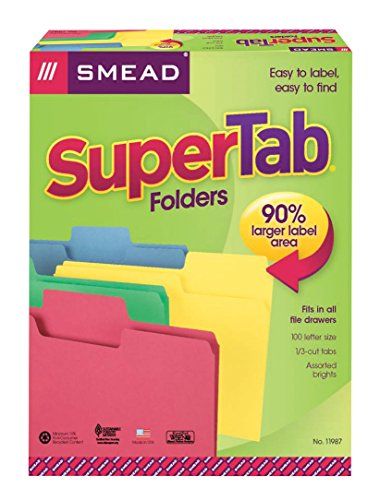 Smead SuperTab File Folder, Oversized 1/3-Cut Tab, Letter Size, Assorted Colors, 100 per Box (11987)