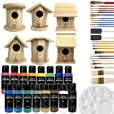 Birdhouse Craft Bundle - 6 Unfinished Wood Birdhouses (5-7 Inches), 16x 2-Ounce Acrylic Paints, Pixiss Nylon 10 Round and Pointed Brush Set, 2X Palettes