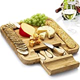 Mitbak Charcuterie Board Tray with 4 Cheese Knives | Bamboo Cheese Board Serving Tray | Cutting Board Platter Great Gift For Christmas, Anniversary, Bridal Shower, Housewarming | 13 x 13 x 1.5 Inches