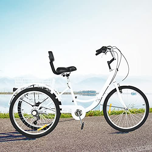 Adult Tricycles, 7 Speed Foldable Adult Trikes 26-in 3 Wheel Bikes for Adults with Large Basket for Recreation, Shopping, Picnics Exercise Men's Women's Cruiser Bike【Shipping from U.S.】 (White)