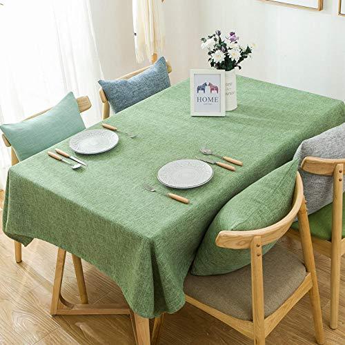 Yinaa Moderno Mantel Rectangular Cocina Algodón y Lino de Color Liso Grueso Lavable Manteles Resistente Al Desgaste Elegante Verde Claro 90 × 140 cm