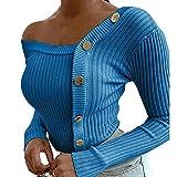 Suéter Casual de Manga Larga de Punto