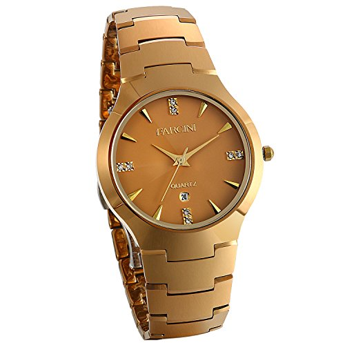 JewelryWe Herren Armbanduhr Analog Quarz Kalender Wolframcarbid Band Geschäfts Uhr Gold