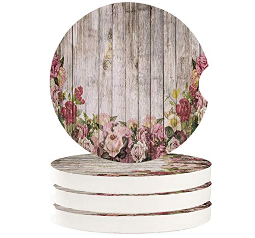 Flower Car Coasters for drinks Set of 4 Car Accessories for Women Men Absorbent Ceramic Stone with Finger Notch Vintage Blossoms Rose