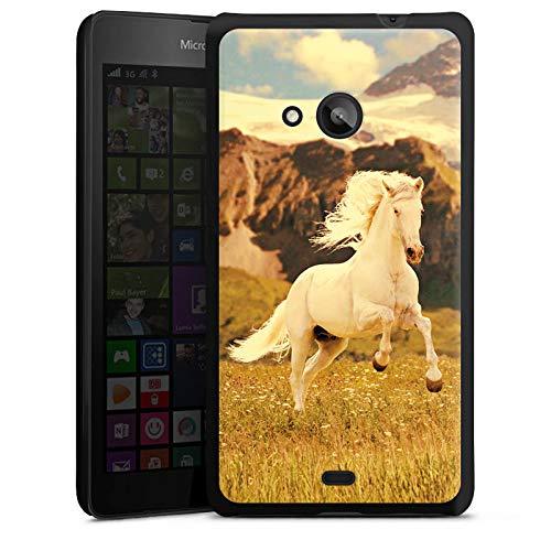 DeinDesign Hard Case kompatibel mit Microsoft Lumia 535 Dual SIM Schutzhülle schwarz Smartphone Backcover Pferd Wiese weiß