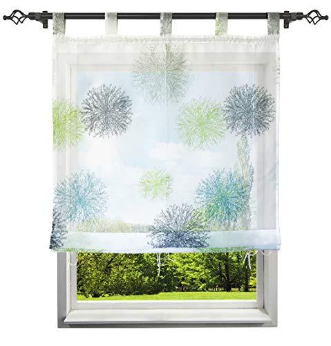 Raffrollo mit Luftig Druck Design Schlaufen Rollos Transparent Voile Vorhang Deko für Haus (B*H 120 * 150cm, Blau/Grün)