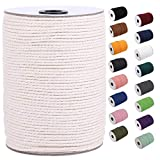 XKDOUS Macrame Cord 3mm x 220Yards, Natural Cotton Macrame Rope, Cotton Cord for Wall Hanging, Plant Hangers, Crafts, Knitting, Decorative Projects, Soft Undyed Cotton Rope