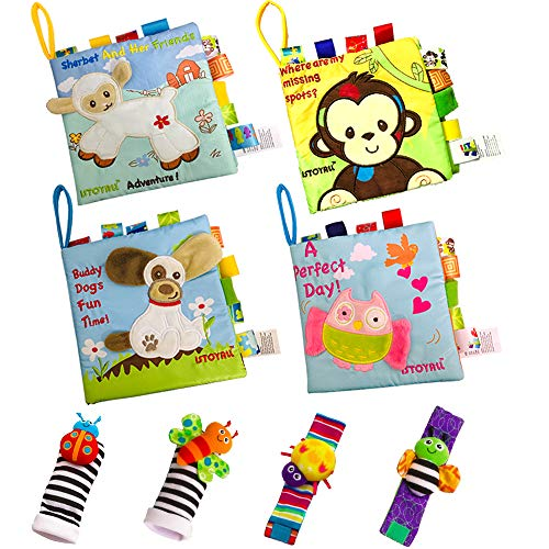 ISTOYALL Baby Soft Book Cloth Book Set 8 Pack Crinkle Book