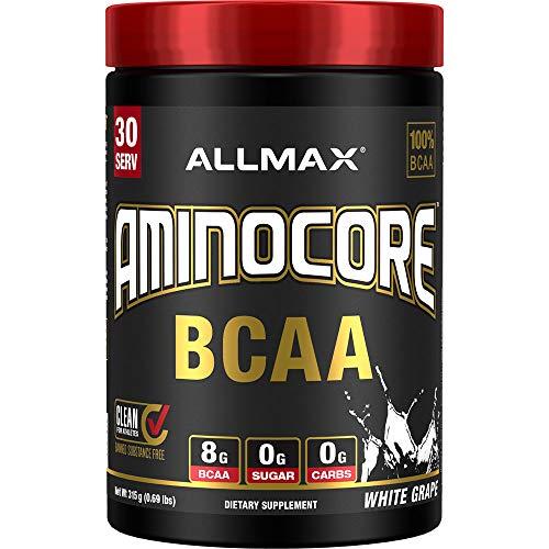AMINOCORE BCAA – 8G BCAAs – 100% Pure Branch Chained Amino Acids – Gluten Free - White Grape - 315 Gram