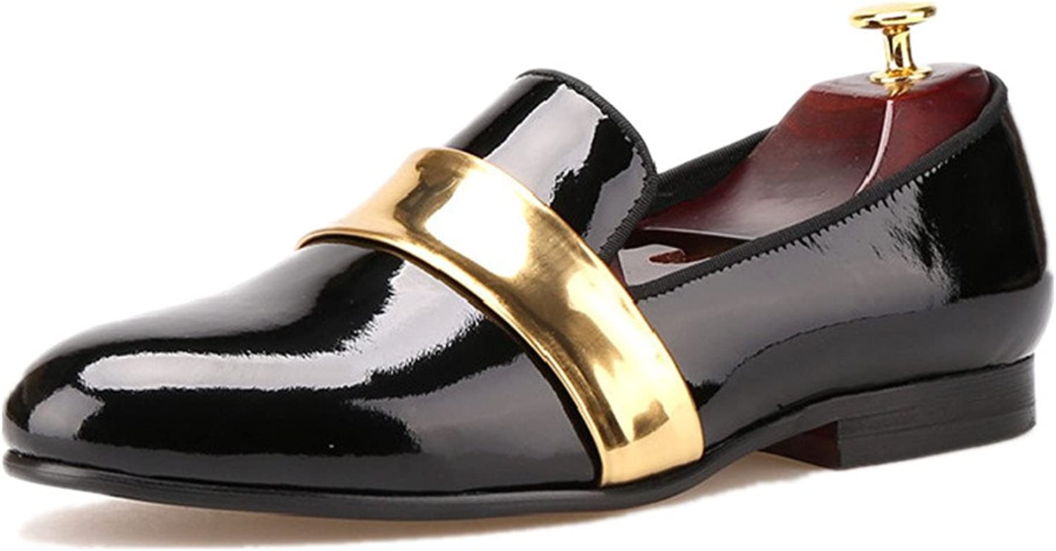 HI&HANN Men's Leather Loafers with gold Patent Leather Buckle shoes Slip-on Loafer Round Toes Smoking Slipper