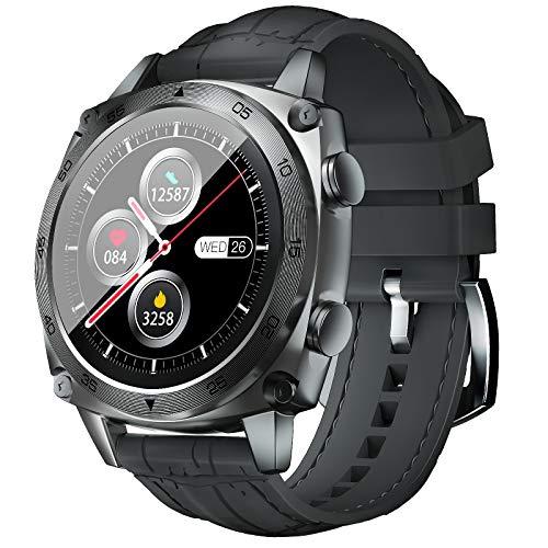 CUBOT Smartwatch Herren, Fitness Armbanduhr, IP68 Wasserdicht Schrittzähler mit Herzfrequenzmesser Stoppuhr Pulsuhr Musiksteuerung und Schlafmonitor, 1.3 Zoll Touch-Farbdisplay Fitnessuhr(Grey)