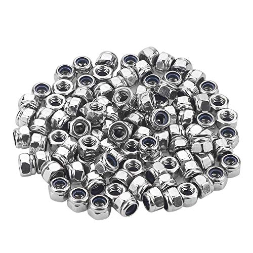 Favordrory M4 x 0.7mm 304 Stainless Steel Self-Lock Nylon Inserted Hex Lock Nuts, Self Clinching Nuts, 100 PCS