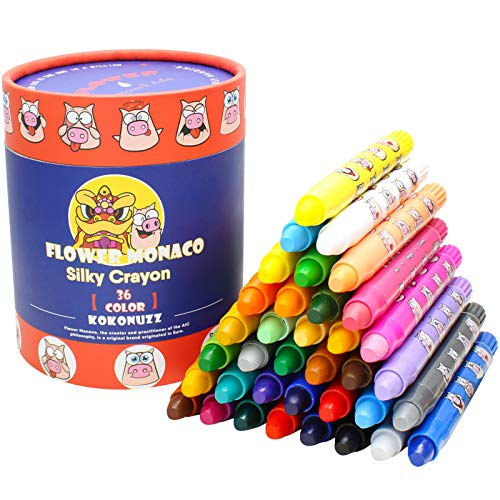 Washable Crayons for Kids Ages 3, 4, 5 Years Old, 36 Colors Toddler Crayons, Non Toxic Silky Crayons, Easy to Hold Twistable Large Crayons for Toddlers, Safe for Babies Children Flower Monaco