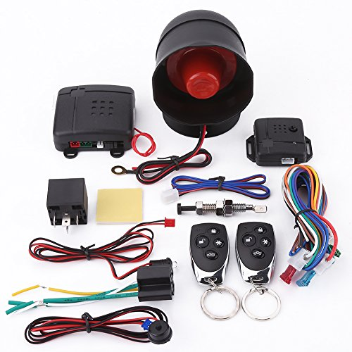 Système d'Alarme de Voiture, Keenso Système de Protection de Sécurité Contre le Vol Antivol Système Alarme Entrée sans Clé avec 2 Télécommandes Sirène