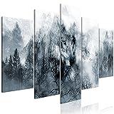 murando Handart Cuadro en Lienzo Lobo 225x112 cm 5 Partes Cuadros Decoracion Salon Modernos Dormitorio Impresión Pintura Moderna Arte Bosque g-A-0139-b-m