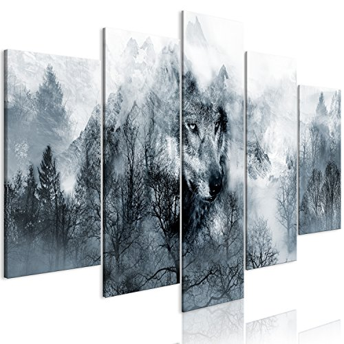murando - Cuadro en Lienzo Lobo 200x100 cm Impresión de 5 Piezas Material Tejido no Tejido Impresión Artística Imagen Gráfica Decoracion de Pared Bosque g-A-0139-b-m