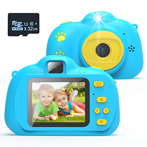 KARSEEN Kids Camera, Best Birthday Toys for 3 Year Old Girls or 4 Year Old Boy Toy, HD Dual Digital Video Cameras Toys for Kids, Toddlers, Boys and Girls,Age 3 4 5 6 7 8 with 32GB SD Card (Blue)