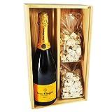 Champagne Veuve Clicquot - Carte Jaune & 2 * 150 grammes Nougadets Noisettes - Jonquier Deux Frères - Sous coffret bois