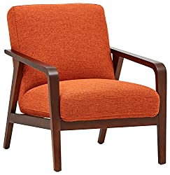 Amazon Rivet Huxley Mid-Century Accent Chair, Burnt Orange Upholstered