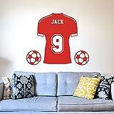 Pegatinas de pared, camiseta de fútbol, calcomanía de pared para habitación de niño, habitación niños, nombre personalizado, deporte de fútbol, pegatina de pared, decoración de vinilo, 56x67cm
