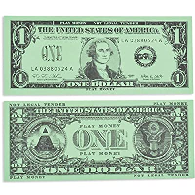 LEARNING ADVANTAGE One Dollar Play Bills - Set of 100 $1 Paper Bills - Designed and Sized Like Real US Currency - Teach Currency, Counting and Math with Play Money by Learning Advantage