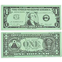 100 $1 BILLS INCLUDED -- This set of one dollar play bills is great for solitary or group play and an ideal resource for the home, center, classroom or playroom. REALISTIC PLAY BILLS -- These bills are lifesize and match U.S. currency. They are doubl...