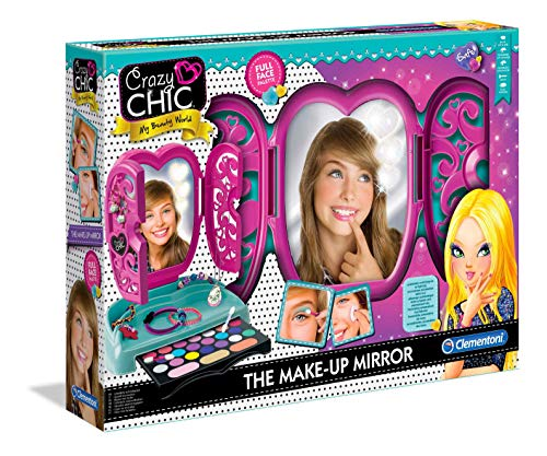 Clementoni 18541 Crazy Chic – Spiegel-Schminkkasten, buntes Make-up Set mit glitzerndem...