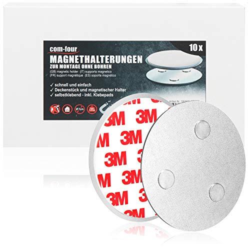 com-four® 10er Set Magnethalterung für Sicherheitsmelder - Halterung mit Klebepads für Rauchmelder - Ø 7 cm (10 Stück - Magnethalterung)
