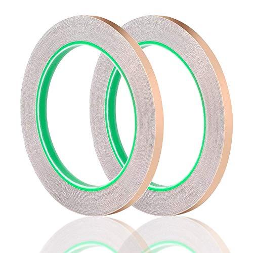2 Rollos Cinta de Cobre Adhesivo Conductor, 6mm lamina cobre adhesivo dos...