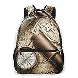 CVSANALA Multifuncional Casual Mochila,Bodegón vintage con brújula sextante catalejo y mapa antiguo,Paquete de Hombro Doble Bolsa de Deporte de Viaje Computadoras Portátiles