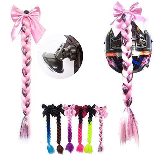 3T-SISTER Bowknot Helm geflochtener Pferdeschwanz Motorrad Fahrrad Helm Haar Flauschige Haarteile für Erwachsene (Mixed pink)