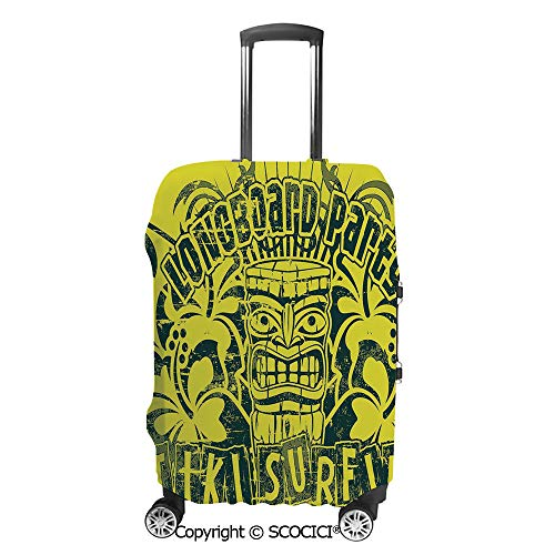SCOCICI Travel Luggage Cover Suitcase Cover Tiki Surf Longboard Party Grungy Display Hibiscus Flora Art Suitcase Luggage Case Covers Fits 19-32 Inch