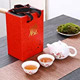Ksnrang Juego de té de cerámica Azul y Blanco Caja de Regalo Evento Comercial Regalo publicitario Logotipo Personalizado como Regalo de canje de Puntos-Una Olla y Dos Tazas de Caja roja Ciruela