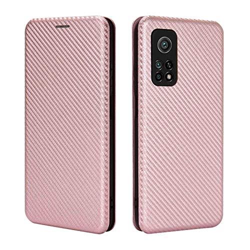 GOGME Cover per Xiaomi Mi 10T 5G Cover Magnetica Portafoglio, Custodia in Robusto Pannello PC in Fibra di Carbonio + Antiurto TPU + Anello Kickstand con [Slot per schede]. Rosa