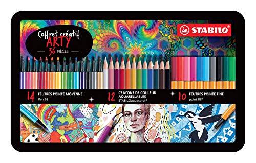 SET Disegno Creativo STABILO ARTY - Scatola di metallo con 36 pennarelli e matite colorate: 14 pennarelli STABILO Pen 68 + 12 matite colorate STABILOaquacolor + 10 fineliner STABILO point 88