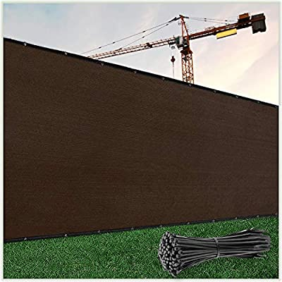 ColourTree 6' x 50' Brown Fence Privacy Screen Windscreen Cover Fabric Shade Tarp Netting Mesh Cloth - Commercial Grade 170 GSM - Cable Zip Ties Included - We Make Custom Size