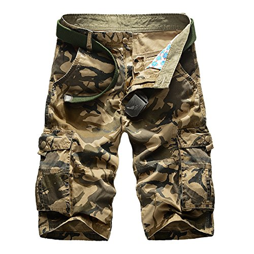 ZumZup Homme Militaire Pantacourt Cargo Shorts Bermudas Rtro Baggy Camo Shorts Outdoor Lche Poche sans Ceinture Coton Casual Combat Shorts 348-Kaki Taille FR 34 (Asie 36)
