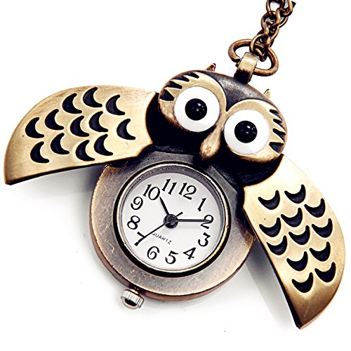 LANCARDO Taschenuhr Damen Herren Pocket Watch Eulen Taschenuhr Kette Analog Quarz Eule Kettenuhr Quarzuhr Eulenuhr Pullover Halskette, Silber schwarz