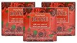 Pastillas de jabón hechas a mano Red Rose Natural con agua de rosas, aceite de coco y glicerina vegetal, 3x60g