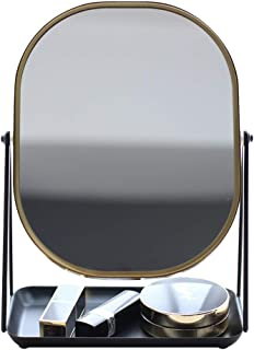 AINIYF Makeup Mirror Nordic Style Makeup Mirror Desktop Vanity Mirror Desktop Tray Makeup Mirror(28x20.3cm)