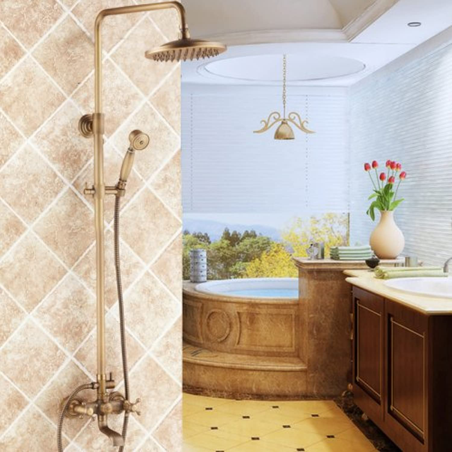 Lightinthebox Vintage Bathroom Shower System Antique Brass Tub Shower Faucet with 8 inch Shower Head + Hand Shower Two Handles Three Holes Shower Head