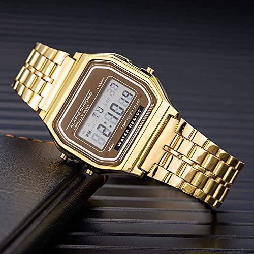 BDYALINGVN Reloj de la Bolsa de la Cadena de la Cadena de Acero Inoxidable de la Moda de Las Mujeres con el Reloj de los Hombres electrónicos de Negocios (Color : Gold)