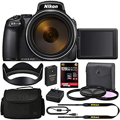 Nikon COOLPIX P1000 Digital Camera 26522 + 128GB 4K AOM Pro Kit: International Version from AOM