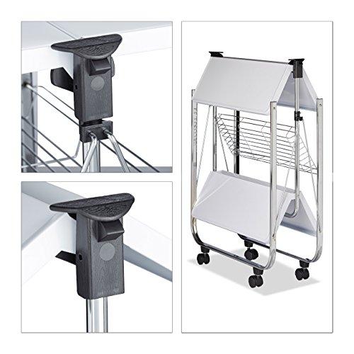 Relaxdays Servierwagen klappbar Weiß – 4 Rollen, Metall, 2 Böden, Korb – Küchenrollwagen – in drei Farben wählbar - 3