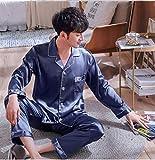 SDCVRE Conjunto de Pijama Conjunto de Pijama de satén sólido para Hombre, Verano, Manga Larga, otoño, Ropa para el hogar, Seda, para Hombre, Ropa de Dormir, Pijama Informal de Dos Piezas para hombr